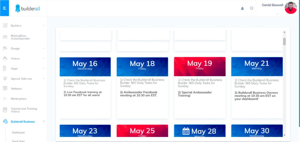 Event Calendar area
