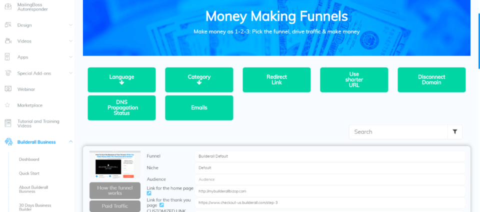 Money Making Funnels area
