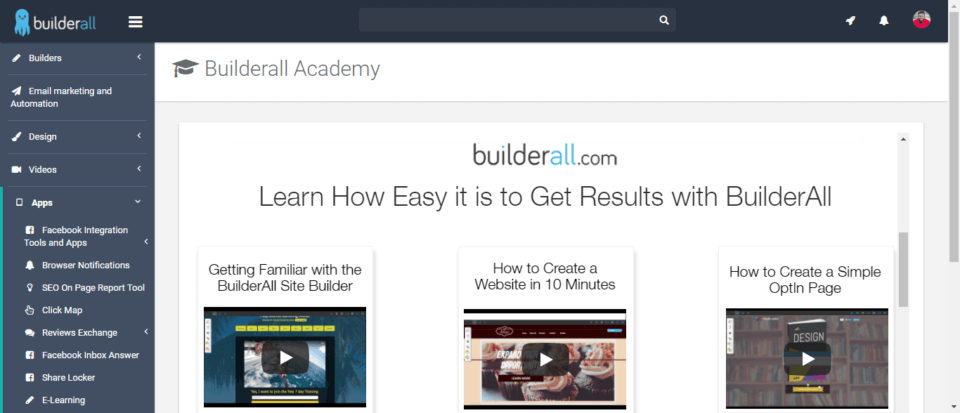BuilderAll Review Builderall Academy