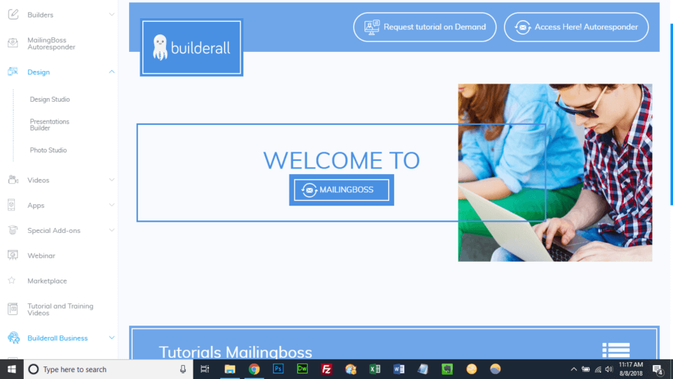BuilderAll Review Mailing Boss Welcome Screen