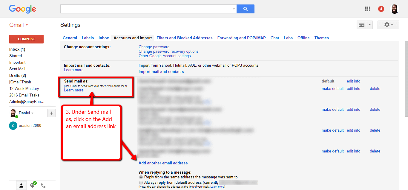 set up a professional business email inside of your gmail account