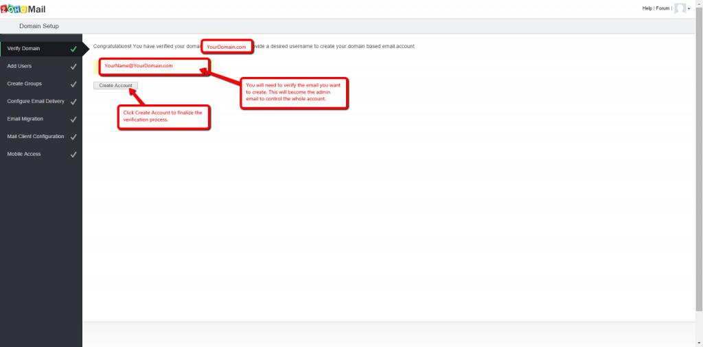 Zoho Mail Setup Step 8